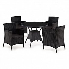 Комплект мебели 4+1 T190А-1/ Y189D Black иск. ротанг