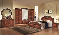 Джулиана спальня комплект : кровать+2 тумбы прикроватные+комод с зеркалом+ шкаф 4 дверный орех