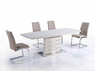 Мик комплект: стол обеденный DT-115 (MK-4315-BG) 120/160х85 + 4 стула DC-332  (MK-4311-DB)