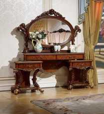Роял туалетный столик с зеркалом орех+золото