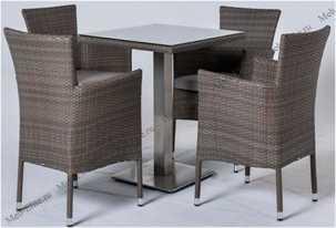 Ротанг Компания комплект: стол  70х70 + 4 полукресла