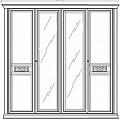 Жиневра шкаф 4 дверный с зеркалом (орех)