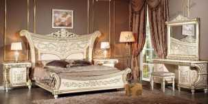 Лав спальня комплект: кровать 180х200 + 2 тумбы прикроватные + туалетный стол с зеркалом + шкаф 5 дверный + пуф