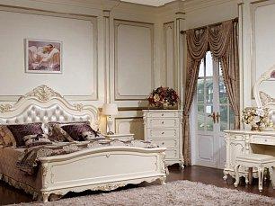 Глория спальня комплект: кровать 160+2тумбы+стол туал+шкаф 4-х двер  слоновая кость