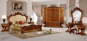Принцесса 3829D спальня комплект: кровать 180х200 + 2 тумбы прикроватные + туалетный стол с зеркалом + пуф + шкаф 5 дверный