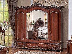 Элиза Люкс шкаф 5 дверный с зеркалом орех глянец