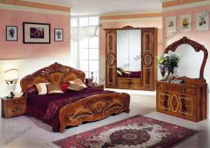 Роза спальня комплект: кровать 2-х спальная + 2 тумбы + комод + 4 дв шкаф орех