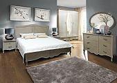 Тициана спальня комплект: кровать 160x200 + комод с зеркалом + 2 тумбы прикроватные + шкаф 5 дверный орех