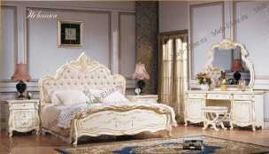 Магдалена спальня комплект: кровать 180+тумба прикр 2+комод с зеркалом+шкаф слоновая кость
