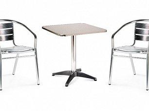 Комплект мебели 2+1 LFT-3059/T3125-60x60 Silver 2Pcs алюминий