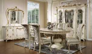 Энрика столовая комплект: витрина 4 дверная + буфет с зеркалом + стол обеденный 200/240х113 + 6 стульев