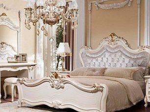Элиана спальня комплект: кровать 180х200+тумба прикроватная 2 шт.+туалетный стол с навесным зеркалом и пуфом+шкаф 6 дверный беж глянец