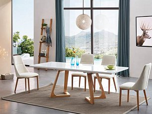 ЕСФ столовая комплект: стол обеденный 160/220х90 T1692 + стулья Y1685 4 шт. глянец