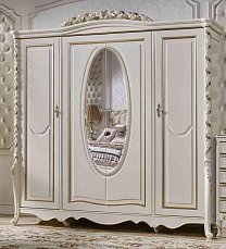 Виттория шкаф 4 дверный слоновая кость + золото с зеркалом