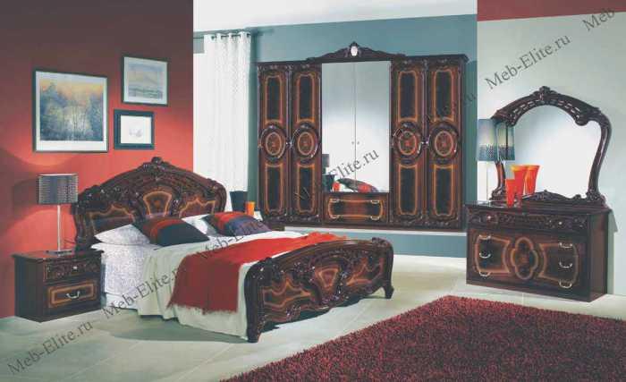 Роза  спальня комплект: кровать 2-х спальная + 2 тумбы + комод + 6 дв шкаф орех