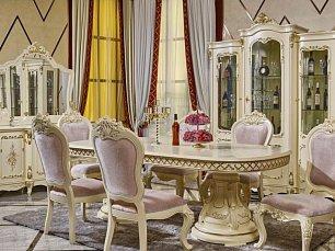 613 столовая комплект: витрина 3 дверная + буфет с зеркалом + стол обеденный + 6 стульев