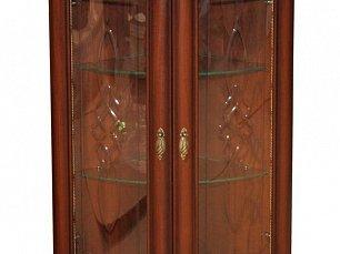 Милан шкаф 2-дверный для посуды угловой стеклянный 5 орех