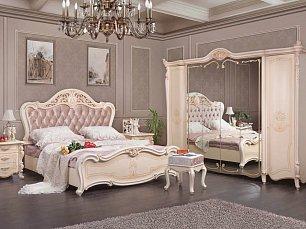 Дукале спальня комплект: кровать 180х200+2 тумбы прикроватные+стол туалетный с зеркалом+шкаф 6 дверный