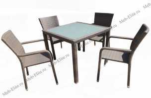 Ротанг Бари: комплект: стол обеденный 90х90+4 полукресла