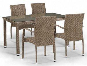 Комплект мебели 4+1 T256B/Y379B-W56   Light Brown 4Pcs иск. ротанг