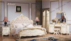 Магдалена спальня комплект: кровать 180+тумба прикр 2+туалетный стол +шкаф слоновая кость