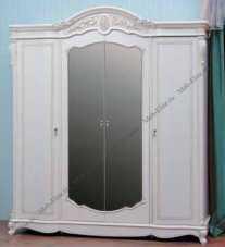 Афина шкаф 4 дверный белая с жемчугом