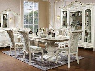 Изадора столовая комплект: витрина 4 дверная + буфет с зеркалом + стол обеденный + 6 стульев