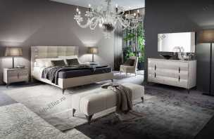 Дуно комплект: кровать 180х200 + 2 тумбы прикроватные + комод с зеркалом, выставочный образец