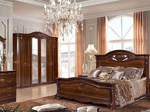 Сорренто 1 Д 2 (SL) спальня комплект: кровать 180х200+тумба прикроватная 2 шт+комод с навесным зеркалом+шкаф 6-дверный темный орех