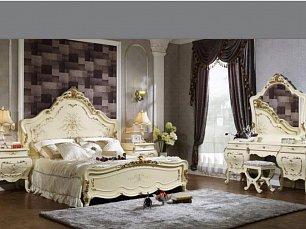 613 спальня комплект: кровать 180х200 + 2 тумбы прикроватные + туалетный стол с зеркалом + шкаф 5 дверный + пуф