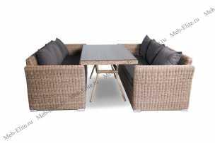 Мокко Дабл: 2 дивана 3 местных + стол обеденный 200х90 иск. ротанг