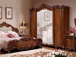 Элиза (SL) спальня комплект орех:кровать 180х200+тумба прикроватная 2шт.+туалетный стол с/з+шкаф 5 дверный