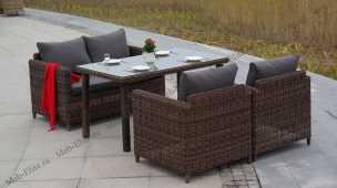 Макиато комплект: 2 местный диван + 2 кресла + стол обеденный 140х80 иск. ротанг