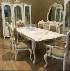 Магдалена столовая комплект: сервант 3 двер+комод с зеркалом+стол+4стул+2 стула с подлокотником  слоновая кость