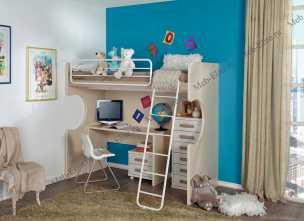 Данза детская 15: кровать-чердак +тумбочка+комод+стол письменный