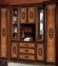 Карина 2 гостиная комплект : 2 шкафа 1-дверных (левый, правый) + комод под ТВ с витриной (2 стеллажа) глянец