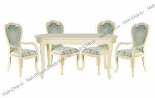 Милано (Фиора) столовая комплект: стол обеденный 160х100 MK-1804-IV + 4 стула MK-1806-IV