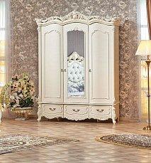 Элиза Люкс шкаф 3 дверный с зеркалом крем