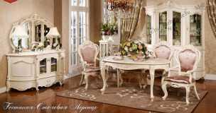 Лоренцо столовая комплект: буфет без зеркала+витрина 4дверная+стол обеденный 160/200+полукресло 2шт+стул 4шт