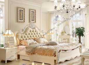 Виктория спальня комплект:  кровать 180х200 арт. 8812 + 2 тумбы прикроватные + туалетный стол арт. 8802 + пуф + шкаф 4 дверный