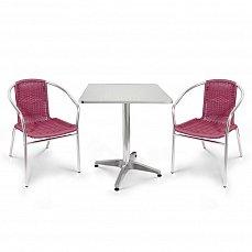 Комплект мебели 2+1 LFT-3099F/T3125-60x60 Bordo 2Pcs алюминий