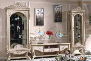 Наполеон 3888W гостиная комплект: 1дверная витрина+2х дверная витрина+тумба тв